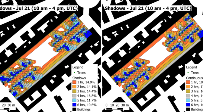 Implementation of a solar model and shadow plotting in the context of a 2D GIS: challenges and applications for the cooling effect of tree-covered based greening solutions in urban public spaces